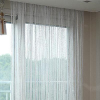 Silver-tone lace curtain