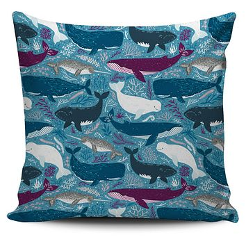 Whale Party Pillow Cover