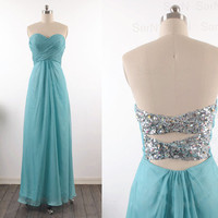 Teal Prom Dresses, Custom Teal Strapless Sequin and Chiffon  Long Formal Gown, Sweetheart Strapless Long Prom Gown