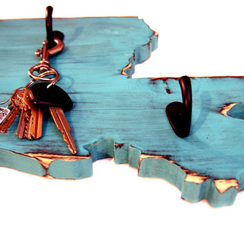 Louisiana Key Hook State (Pictured in Teal) Pine Wood Sign Wall Decor Rustic Americana French Country Chic