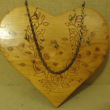 Handcrafted Wall Key Holder 10in W x 9in H x 1in D Woodtone Heart Shaped Wood -- Used