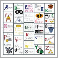Geeky Geekery inspired Alphabet Cross Stitch Sampler - PDF Pattern INSTANT Download