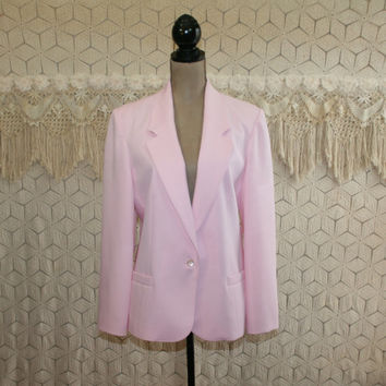 Size Large Pastel Pink Blazer Jacket Womens Spring Jackets 80s Vintage Clothing Suit Jacket Pink Jacket Womens Jackets Vintage Clothing