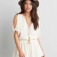 AEO GAUZE EMBROIDERED ROMPER