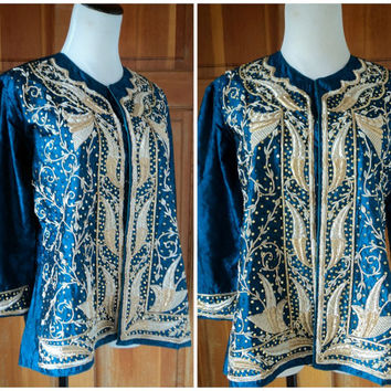 Vintage Jacket Beaded Bohemian Hippie Festival Silk Damask India Metallic Rope Beads Sequins 44 Bust