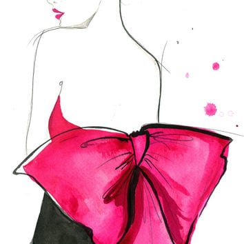 Pink Bow, original watercolor and pen fashion illustration by Jessica Durrant