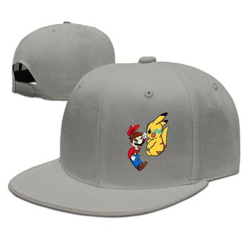 Cartoon Cute Mario Vs Pikachu Design Printed Unisex Adult Womens Baseball Hats Mens Fitted Hats