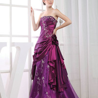 Custom Handmade Purple Strapless Embroidery Lace UP Formal Long Prom/Evening/Party/Bridesmaid/Cocktail/Homecoming Dress Gown