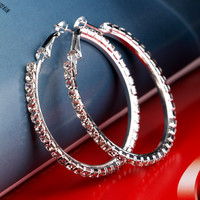 Women's Fashion Silver Plated Crystal Big Circle Large Round Hoop Earring