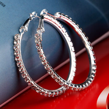 Romantic Copper Rhinestone Hoop Earrings For Women E0037