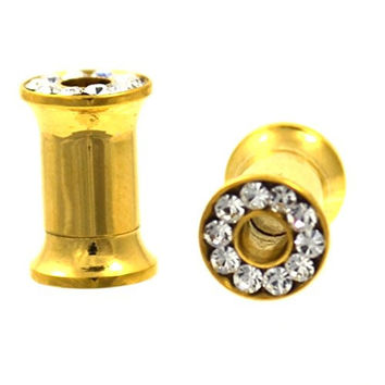 Pair of Gold IP Plated Clear CZ Gem Paved Rim Ear Plug Tunnels Screw On Gauges - 4G (5mm)