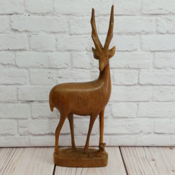 Vintage Carved Wood Deer and Fawn Statue Stag Figure