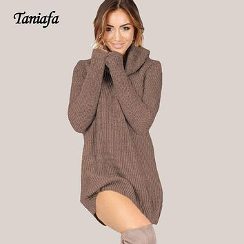 Autumn Sexy Turtleneck Sweaters Dresses Winter Dress Women Clothes Vestidos Kniited Jumpers Pullovers Oversize Sweater Dress