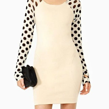 Cute Scoop Neck Long Sleeve Polka Dot Spliced Dress