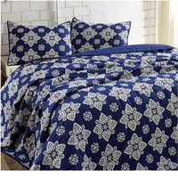 Adelaide Medallion Cobalt Blue Bed Quilt