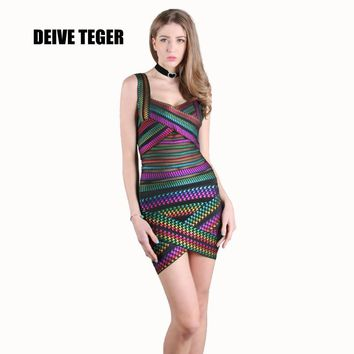 OMBRE sexy Women spring summer dress New arrival MINI Bodycon Bandage Dresses Celebrity