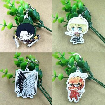 15 Styles Attack on Titan  Keychain Rivaille Eren Keyrings Fashion Jewelry Key Chains Anime Key Ring