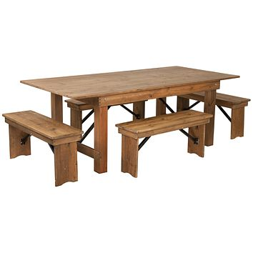 "HERCULES Series 7' x 40"" Folding Farm Table and Four Bench Set"