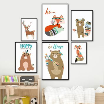 Cartoon Bear Fox Deer Owl Nordic Posters And Prints Wall Art Canvas Painting Pop Art Wall Pictures Kids Room Decoration Pictures