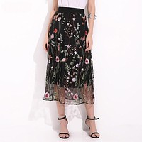 Women Vintage Floral Embroidered Sexy Skirt