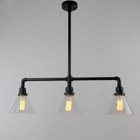 Black Antique Rustic Glass Shade Hanging Ceiling Metal Pendant Light with 3 Lights