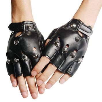 ac DCCKO2Q Unisex Cool BLACK Punk Rock Studded LEATHER LOOK FINGERLESS GLOVES