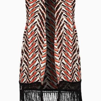 Sleeveless Fringe Cover Up  - Orange & Brown Chevron Print