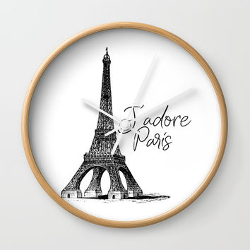 TYPOGRAPHIC ART - J'adore Paris, Paris, Typography Wall Art, Printable Art Wall Clock by NikolaJovanovic