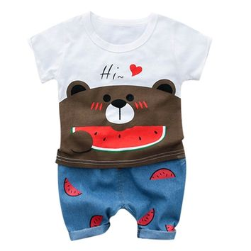 Bear Print T-Shirt Tops+Shorts For Kids