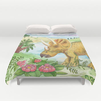 Triceratops Duvet Cover or Comforter, Ocean, surf art duvet or comforter, aqua, blue, purple teal, teen, beautiful, coastal bedroom decor
