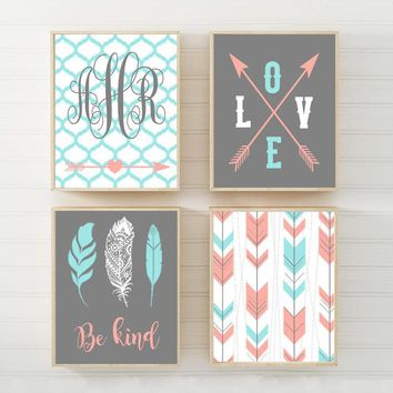 Girl TRIBAL Nursery Art Canvas or Prints Girl Monogram Name Wall Art, TRIBAL Pattern, Boho Nursery Art, Girl Bedroom Decor, Set of 4