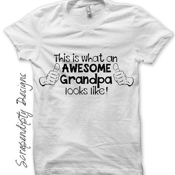 Grandpa Iron on Transfer - Grandparent Iron on Shirt / This is What an Awesome Grandpa Looks Like / Mens Shirt / Baby Shower Gift IT246-C