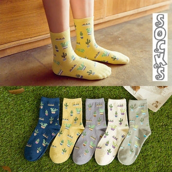 35-40 Happy Cactus Socks Plant Cute Mori Girl Lovely Sokken Harajuku Funny Winter Warm Calcetines Women Kawaii White Christmas