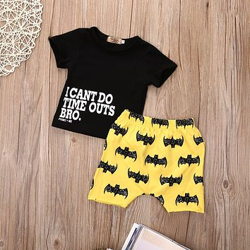 2016 Summer infant clothes baby clothing sets  Casual Batman Newborn Baby Boy Kids T-shirt Top + Short Pants Outfit Clothes Set