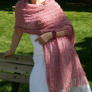 Pink Summer Shawl Mother's Day Gift Lace Scarf  Crochet Wrap