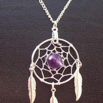 Silver Dreamcatcher with amethyst and three feathers-Dream in Purple