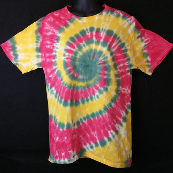Hand Dyed Multi Color Rasta Tie Dye Shirt | Hanes Beefy-T 6.1oz Shirt Youth / Adult (SHORT or LONG SLEEVE)