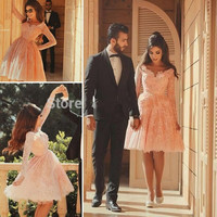 Robe De Lace Cocktail Pink Birthday Party Dresses with Long Sleeve 2016 Homecoming Dress School Student Short Puffy Prom Gown