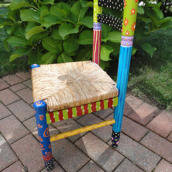 Hand Painted Mackenzie Childs Whimsical Childs Chair with Wicker Seat & Measures 12