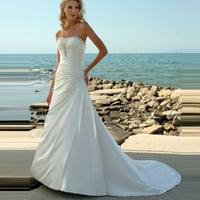 2016 New Summer Sleeveless Beach Wedding Dress High Quality Beading Satin Ivory Wedding Dress Sleeveless Bridal Dress Gelinlik