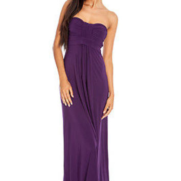 Long Purple Maxi Strapless Summer Sun Dress Holiday-Beach-Day-Evening-Casual