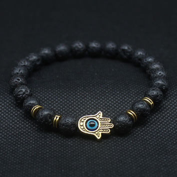 Silver and Gold Plated Hand of Fatima Hamsa Hand Bracelet of Mala Black Lava Stone Evil Eye Amulet Bracelets For Men Women HT-5