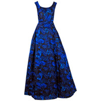 1950's Ceil Chapman Sapphire-Blue Butterfly Novelty-Print Silk Evening Ball Gown