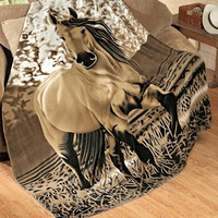 Western Country Tan Brown Galloping Horse Fleece Throw Blanket