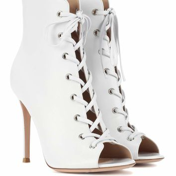 Marie peep-toe leather ankle boots