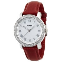 Fossil ES3190 Women's Emma MOP Dial Red Leather Strap Watch