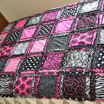 Twin Size RAG QUILT, Zebra, Pink, and Black ~~Made to Order Includes 3rd layer flannel, 1 matching pillow sham