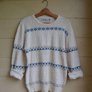 Vintage 80s Pullover Sweater Slouchy Sweater Southwestern Print Oversized Sweater by Jantzen Size Large