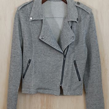 A Ride Through Town French Terry Biker Jacket, Pewter