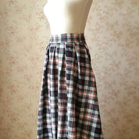 Winter Long Skirt Women Plaid Skirt/Pleated Skirt Vintage-inspired Checked Skirt High Waist Flannel Skirts Long Skirts Pockets Custom Size